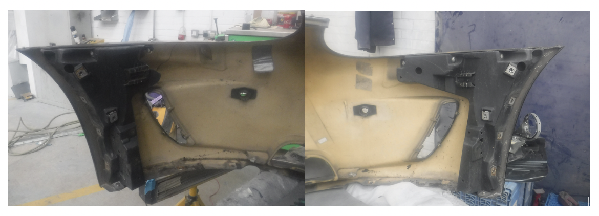 the passenger side broken (left) and the driver side shown intact (right).