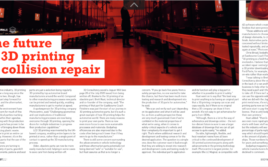 The future of 3D printing in collision repair, Bodyshop magazine article August 2021